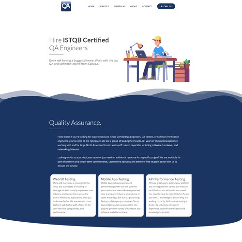 WordPress Design for a QA Tester Company