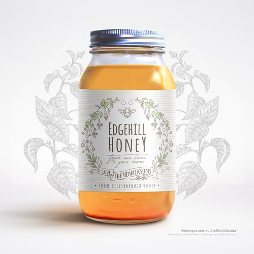 Mason Jar Label for a Private Estate's Honey