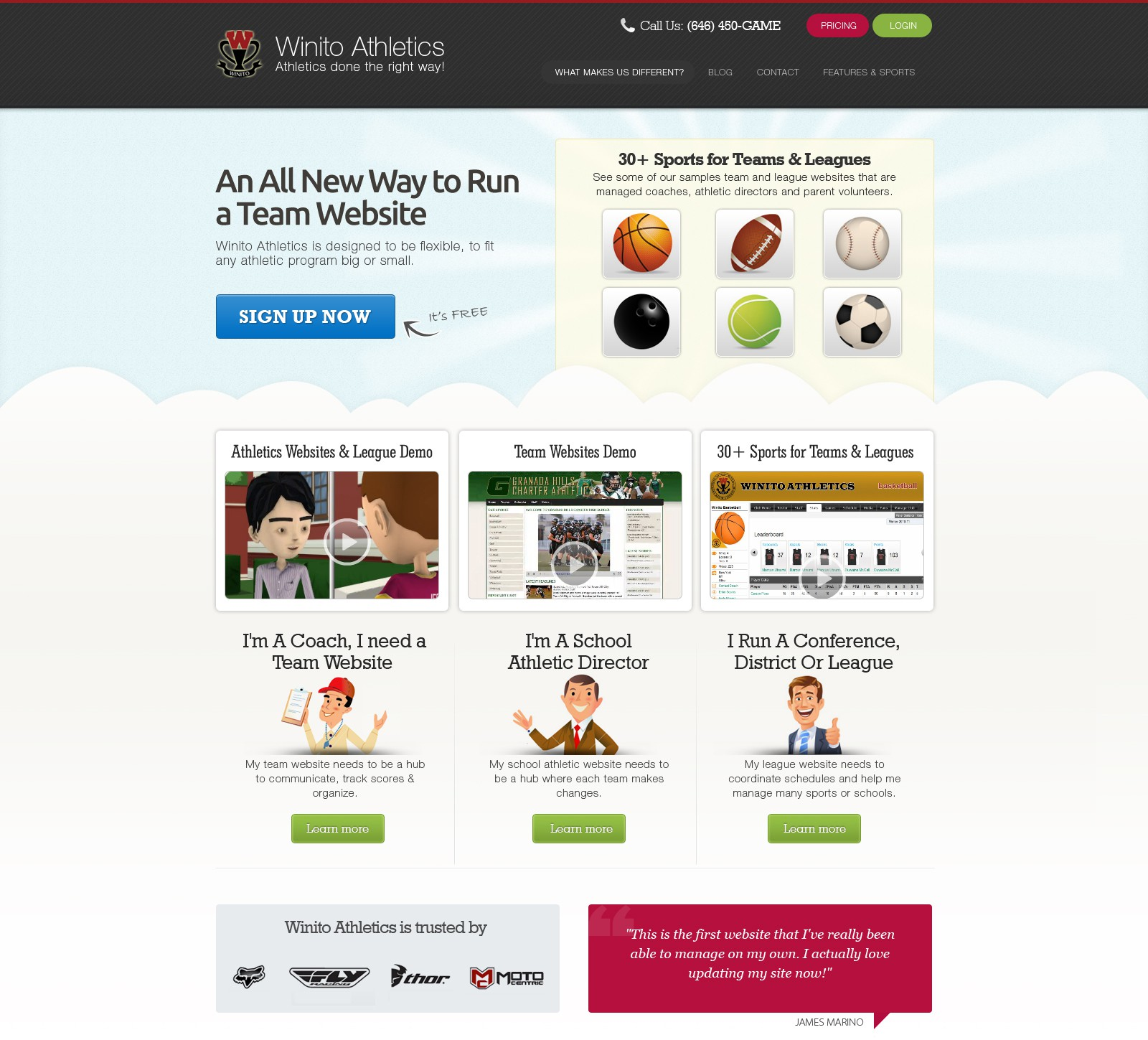 Fast Growing Startup Web 2.0 Company Winito Athletics needs new look