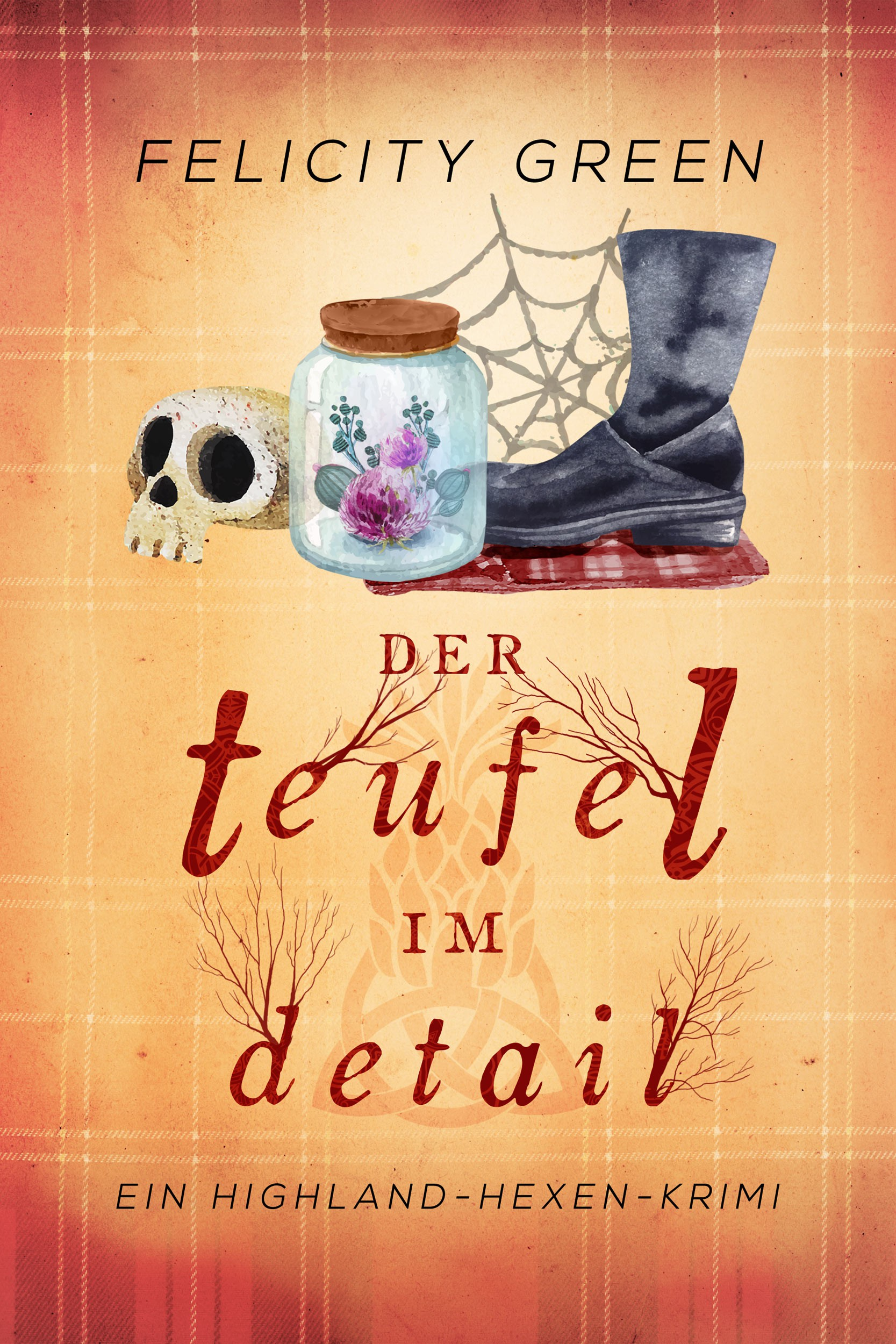 First book cover in German Paranormal Mystery Series set in the Scottish Highlands