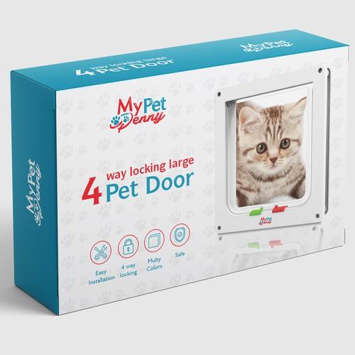 Packaging design for a cat pet door