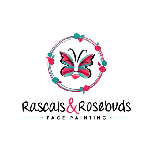 create a fun and warm logo for Rascals and Rosebuds Face Painting
