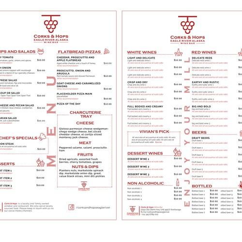 Wine Bar in Alaska needs new menu