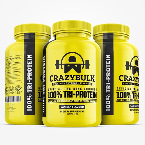 Powerful and stand out Whey Protein powder packaging design