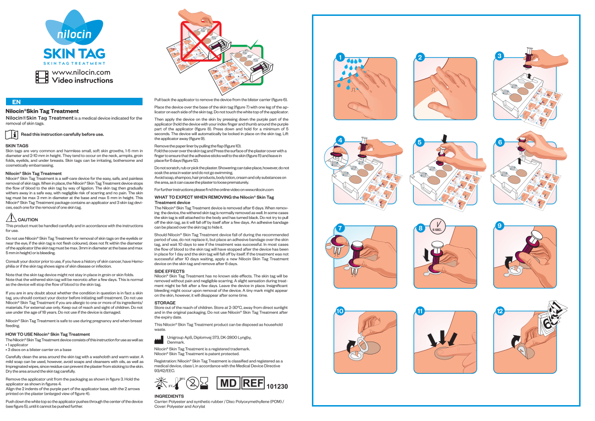 revise the text for teh IFU for the Skin tag product UK version