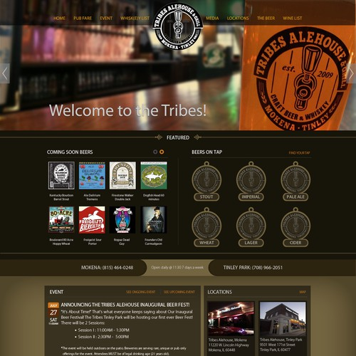 New website design wanted for Tribes Alehouse