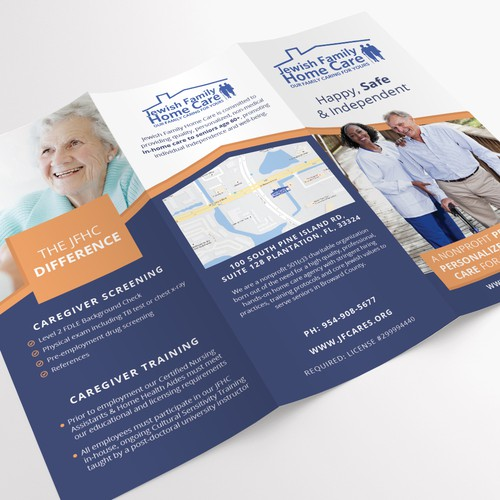 Tri-fold brochure for Jewish Family Home Care