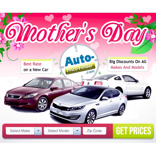An exciting automotive company needs a new Mother's Day banner ad