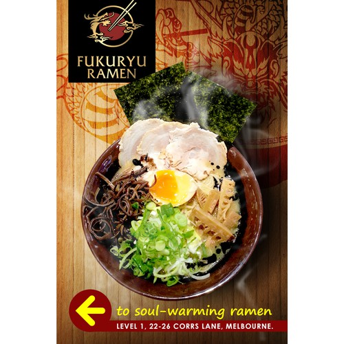 Create a delicious billboard sign for Fukuryu Ramen!
