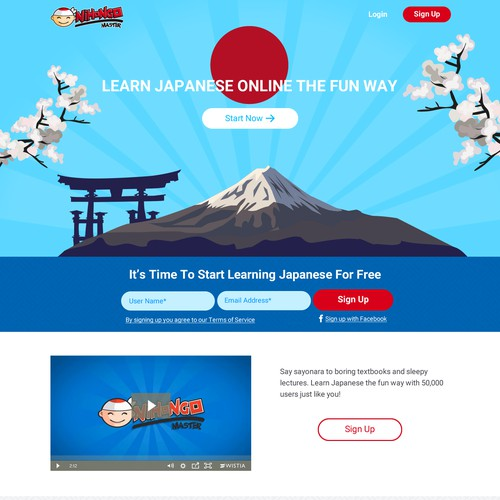 Language Learning Landing Page