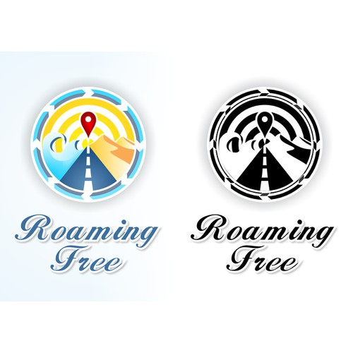 Creative logo for world travelers blog site - Roaming Free