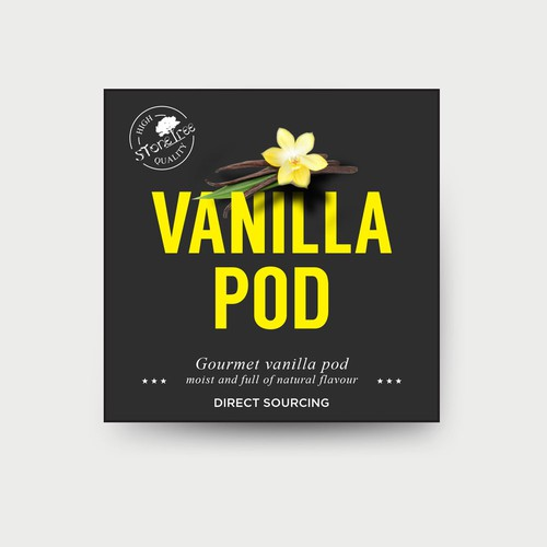 Label concept for a vanilla pod