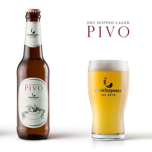 PIVO Dry Hopped Lager Label