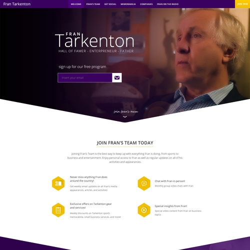 Redesign of FranTarkenton.com, Hall of Fame Quarterback and Entrepreneur