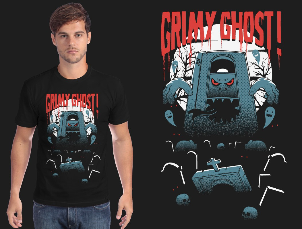 "Create a grotesque and spooky ""Grimy Ghost!"" t-shirt for our found footage collective!"