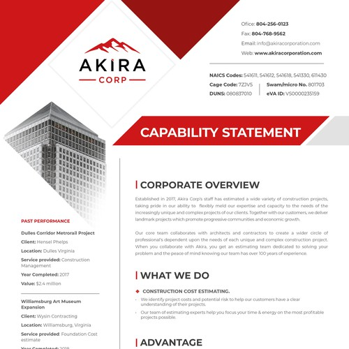 AkiraCorp Capability Statement design
