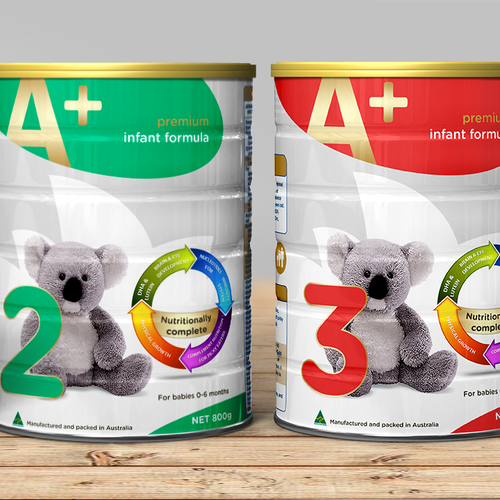 Create the brand label for a baby formula tin