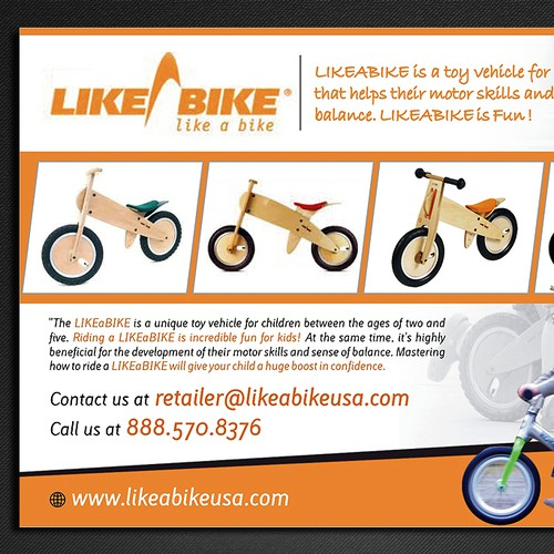Create a info/photo sales postcard for a kids balance bike company