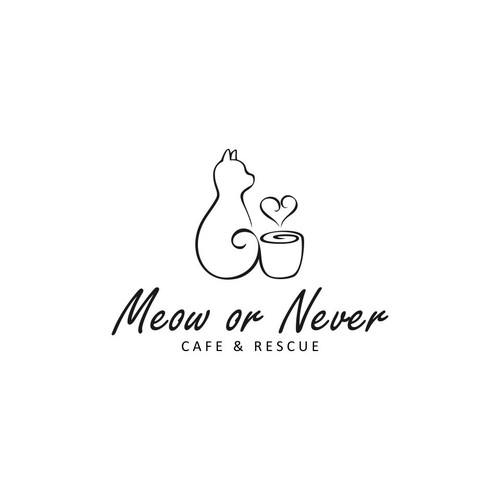 Logo design for Meow or Never Coffe and Rescue