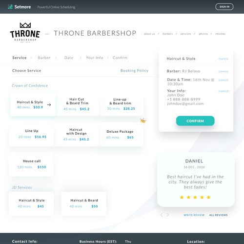 Booking Page for a booking web app