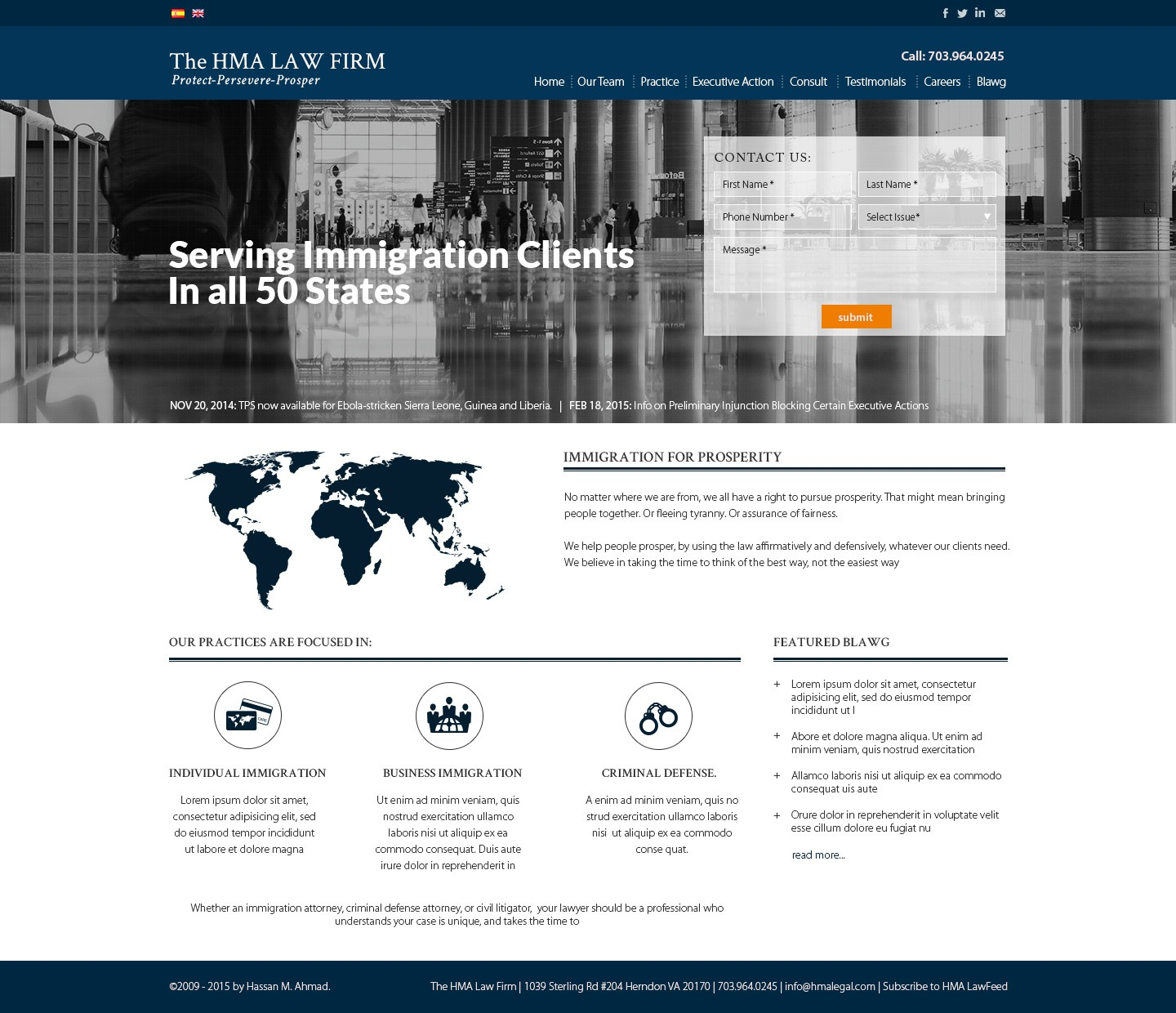 Landing Page Design for Immigration Law Firm