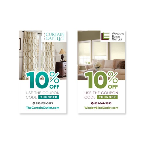 Promo card for TheCurtainOutlet.com and WindowBlindOutlet.com