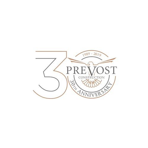 30th Corporate Anniversary Logo Design for Prevost Construction