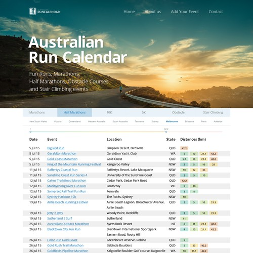 Web design for running events site