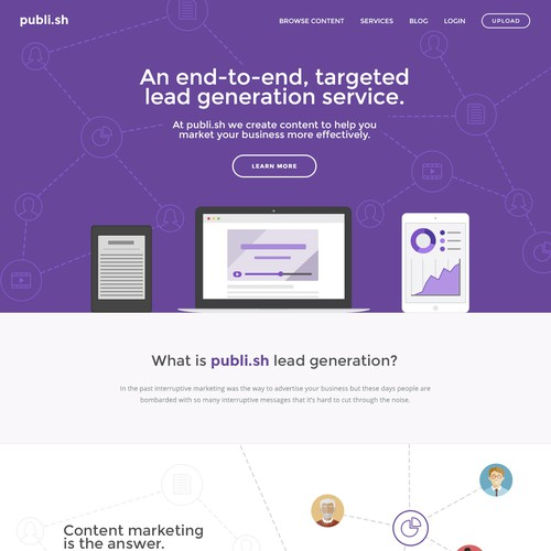 Info page for content marketing service.