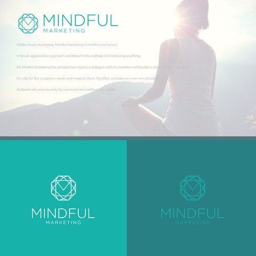 """Logo/business cards for my workshops """"Mindful Marketing for body- and soulworkers"""""""