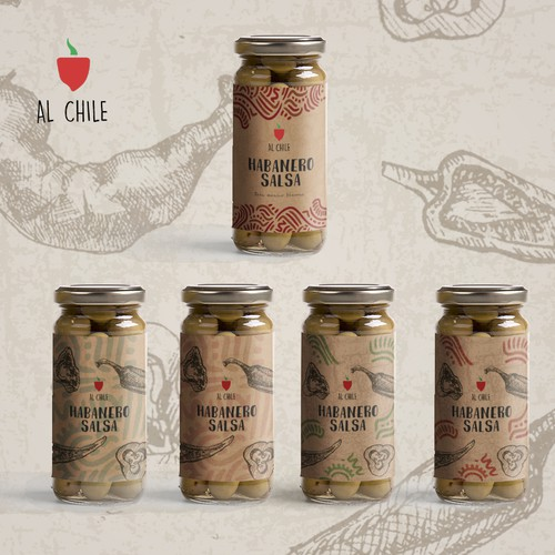 modern and elegant packaging for authentic salsa.