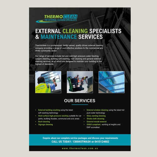 Flyer for Australian cleaning service company