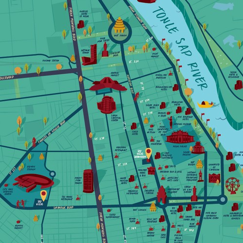 Map of Downtown - Phnom Penh, Cambodia