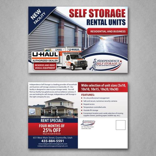 Postcard design for Storage facility