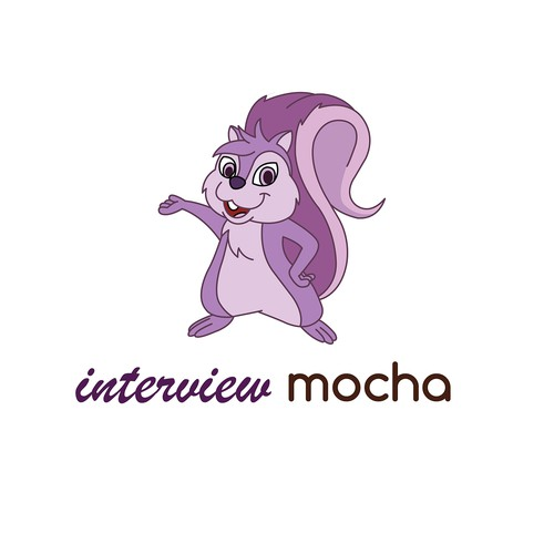 Purple Squirrel character for interview mocha logo