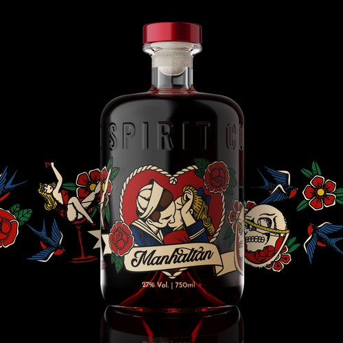 "Hip and Bold label for ""Tattoo"" line of distilled spirits"