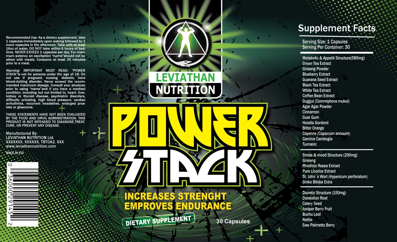 product label for LEVIATHAN NUTRITION - Power Stack