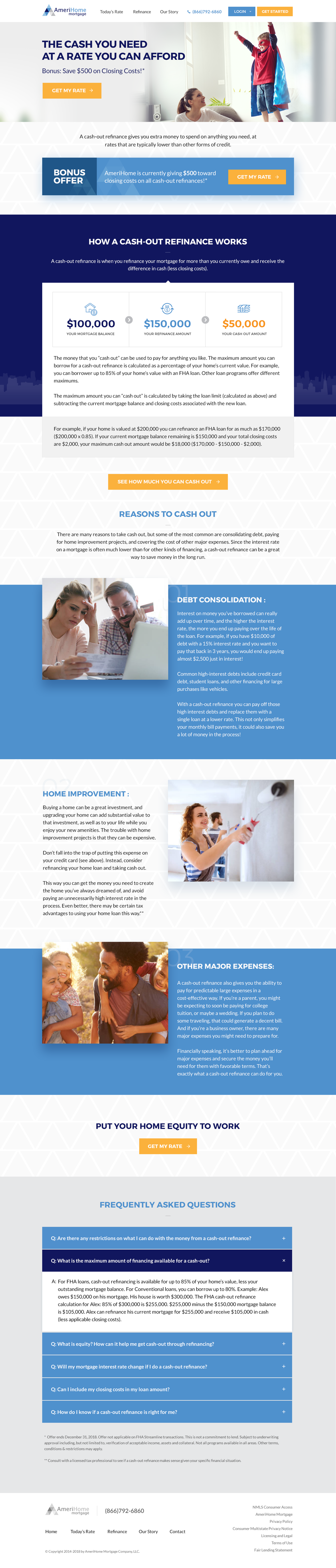 Landing page for mortgage lender.
