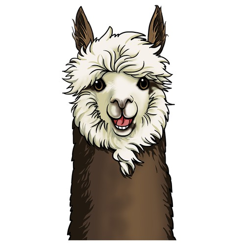 Create a character illustration of an Alpaca