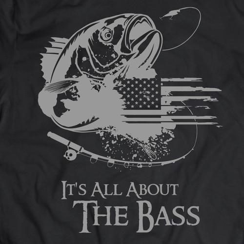 tshirt design concept for bass fishing