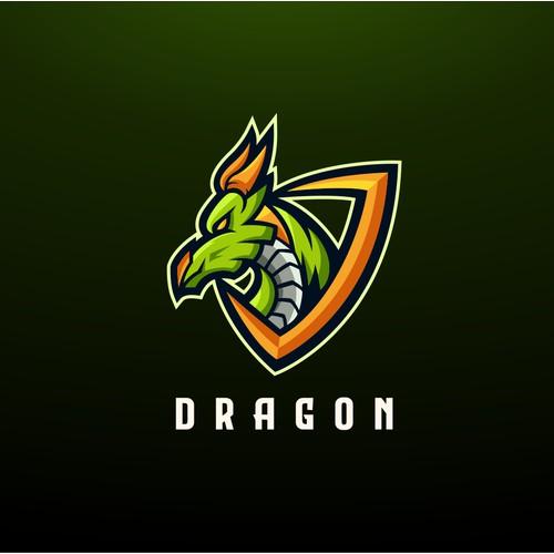 green dragon mascot logo concept