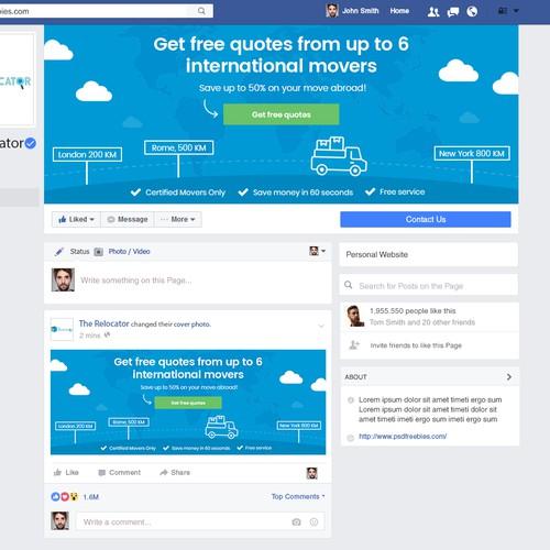 Facebook omslag voor gratis offerte dienst (internationale verhuizingen)