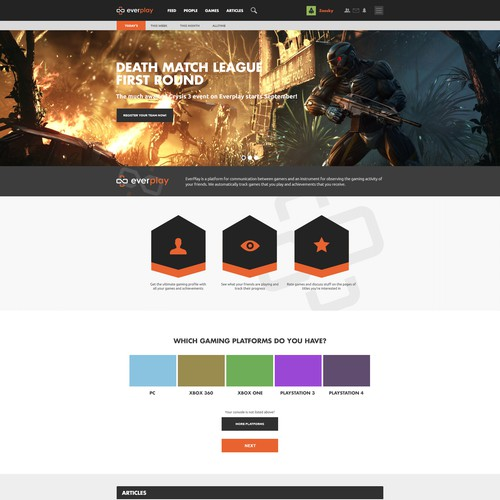 Design a homepage for a gamers social network website. Will work 1 on 1 on two more pages.
