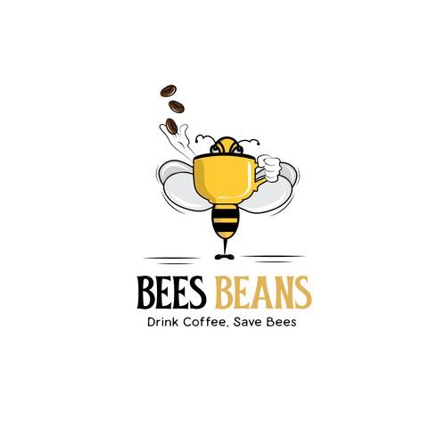 Bee Drinking coffee