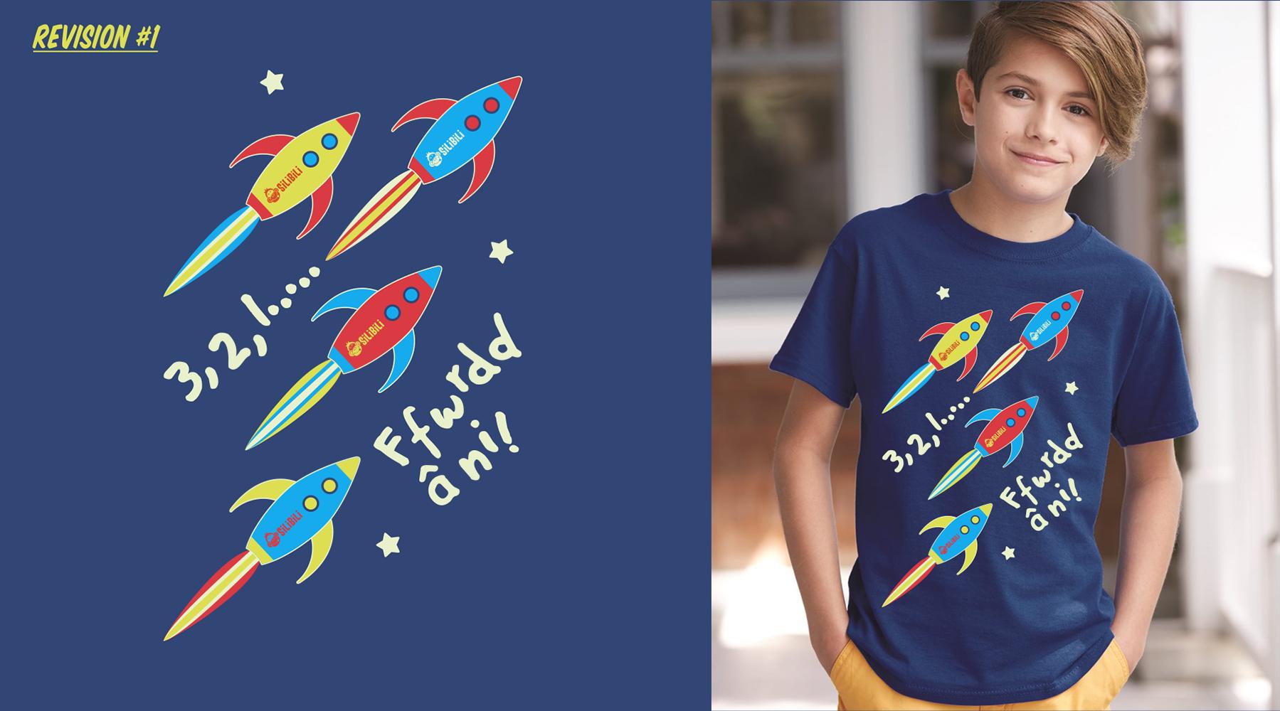 Space rocket kids t-shirt design