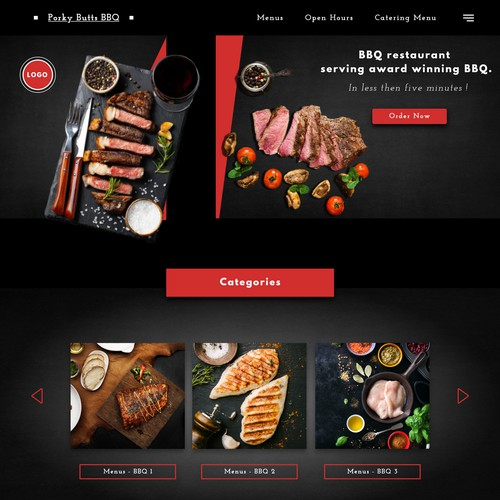 Web page for BBQ Restaurant