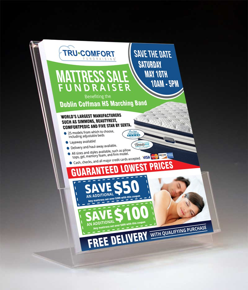Create an exciting coupon flyer for Tru Comfort Mattress Fundraising