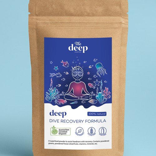 Product label with underwater illustration