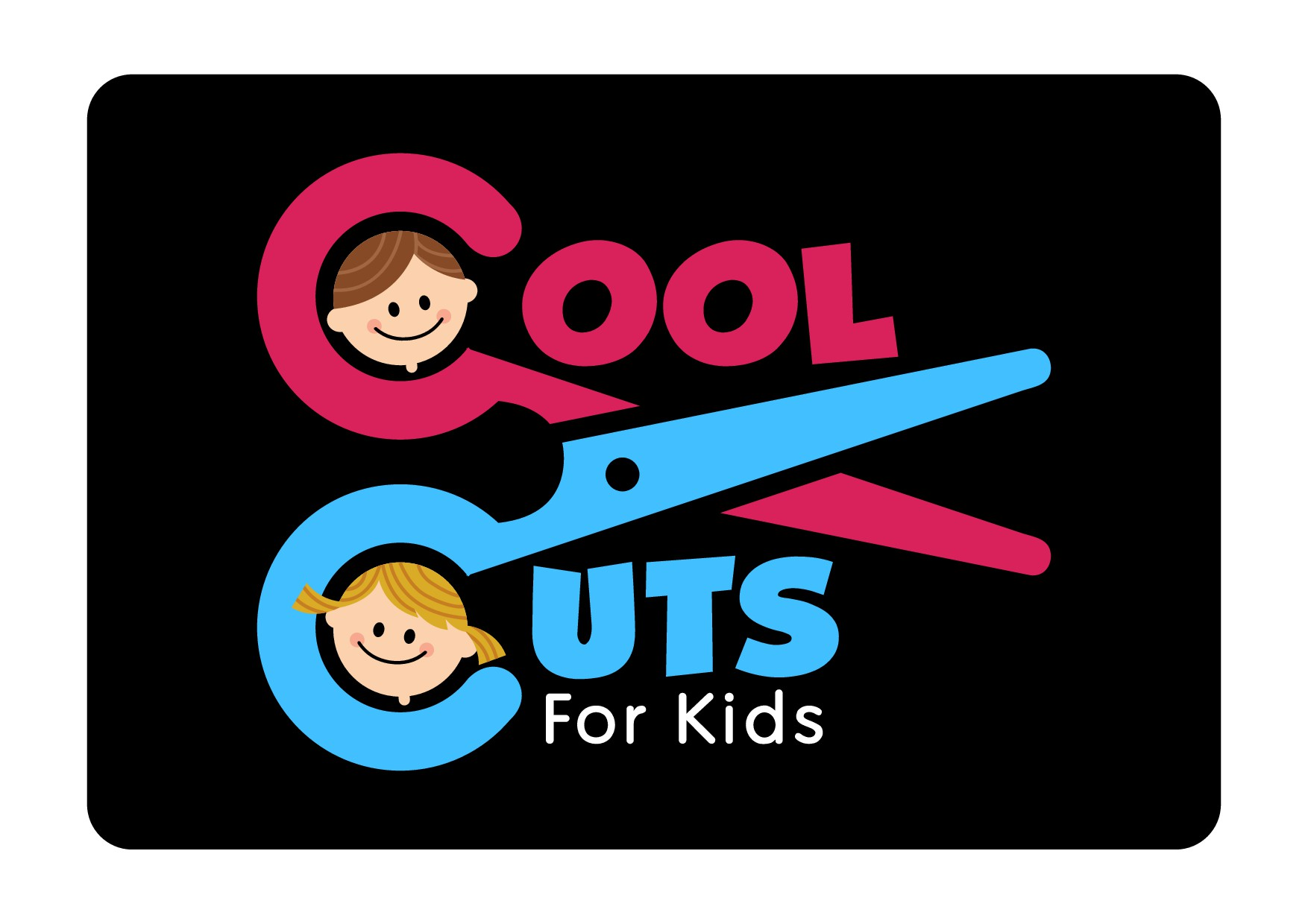 Logo for the beauty salon created just for kids! Always great haircut and fun experience.
