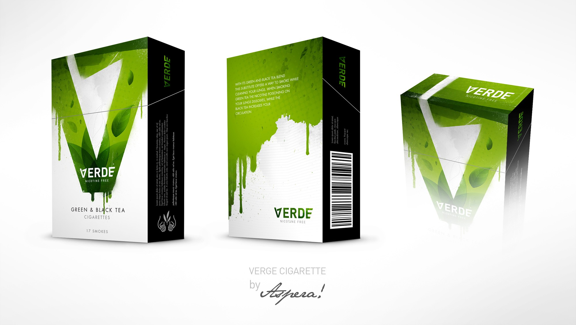 Verde Green Tea Cigarette Box Design